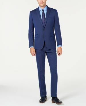 Men's Slim-Fit Ready Flex Stretch Bright Blue Pinstripe Suit