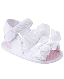 Baby Girl Broadcloth Sandal with Eyelet Ruffles