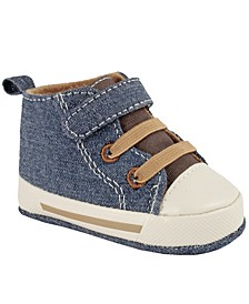 Baby Boy Hi-Top Sneaker with Brown Tongue and Elastic Laces