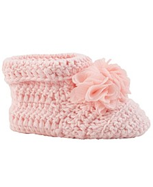 Baby Girl Crochet Cuffed Bootie with Shimmer Chiffon Flowers