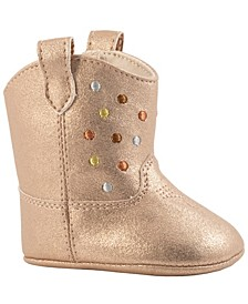 Baby Girl Shimmer Mid-Calf Boot with Multi-Metallic Embossed Dots