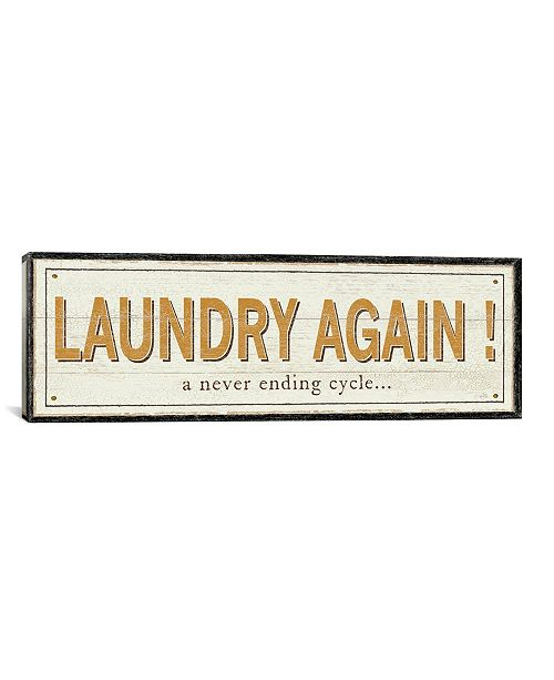 "iCanvas Laundry Again! by Pela Studio Gallery-Wrapped Canvas Print - 12"" x 36"" x 0.75"""