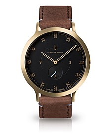L1 Standard Black Dial Gold Case Leather Watch 42mm