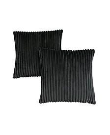 """Monarch Specialties 18"""" x 18"""" Ultra Soft Ribbed Style Pillow, Set Of 2"""