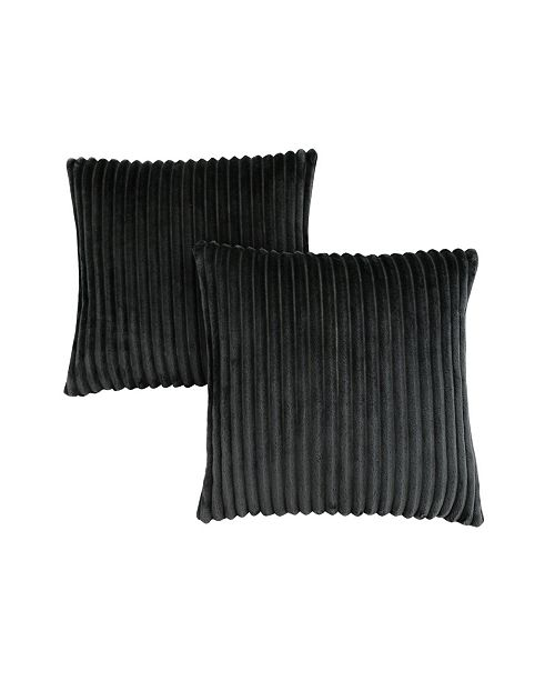 "Monarch Specialties 18"" x 18"" Ultra Soft Ribbed Style Pillow, Set Of 2"