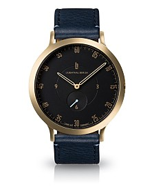 Lilienthal Berlin L1 Standard Black Dial Gold Case Leather Watch 42mm