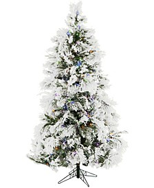 6.5'. Frosted Fir Snowy Artificial Christmas Tree with Multi-Color LED String Lighting and Holiday Soundtrack