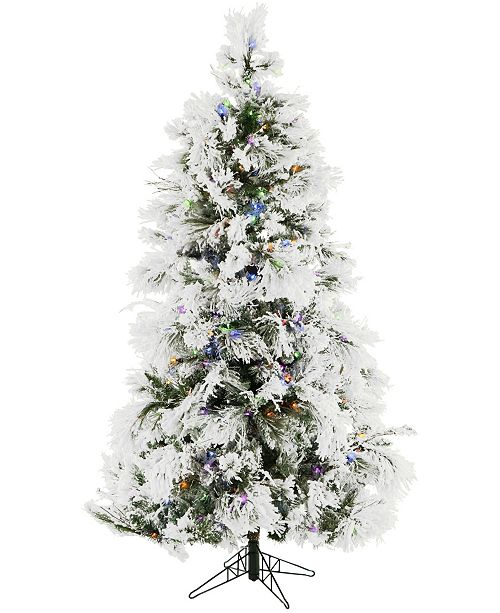 Christmas Time 6.5'. Frosted Fir Snowy Artificial Christmas Tree with Multi-Color LED String Lighting and Holiday Soundtrack