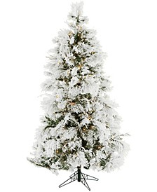 6.5'. Frosted Fir Snowy Artificial Christmas Tree with Clear Smart String Lighting