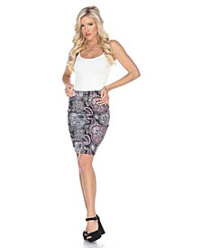 Pretty and Proper Multicolor Paisley Print Pencil Skirt