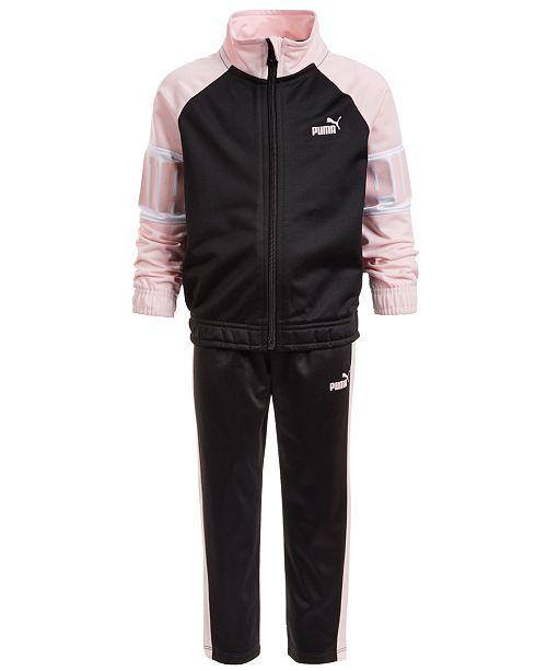 Puma North America Puma Little Girls 2-Pc. Colorblocked Tricot Jacket & Track Pants Set