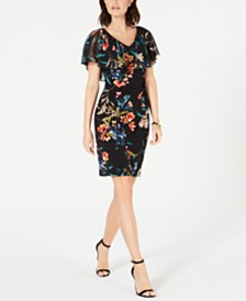 Connected Petite Floral Chiffon Popover Dress