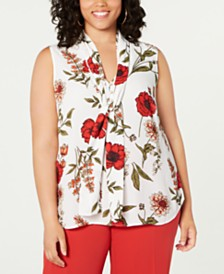 Bar III  Plus Size Floral Printed Blouse, Created for Macy's