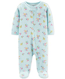Baby Girls 1-Pc. Floral-Print Cotton Footed Pajamas