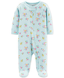 Carter's Baby Girls 1-Pc. Floral-Print Cotton Footed Pajamas