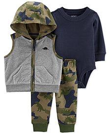 Carter's Baby Boys 3-Pc. Camouflage Vest, Bodysuit & Leggings Set