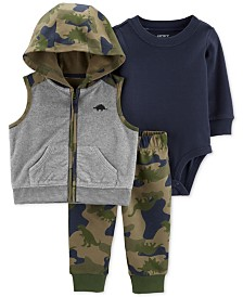 Carter's Baby Boys 3-Pc. Camouflage Vest, Bodysuit & Leggings Set