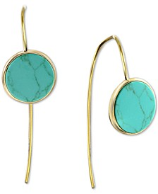 Reconstituted Turquoise Button Threader Earrings in 18k Gold-Plated Sterling Silver