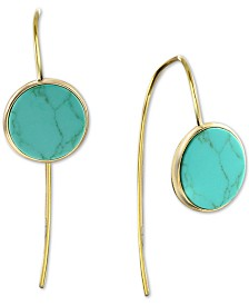 Argento Vivo Reconstituted Turquoise Button Threader Earrings in 18k Gold-Plated Sterling Silver