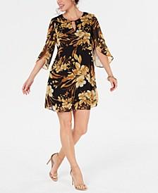 Floral Chiffon Keyhole Dress