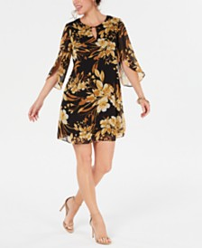 Connected Floral Chiffon Keyhole Dress