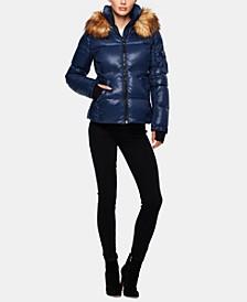 Kylie Faux-Fur-Trim Down Puffer Coat