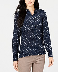 Banfy Printed Button-Up Top