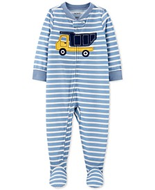 Baby Boys 1-Pc. Striped Construction Pajama