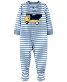 Baby Boys 1-Pc. Striped Construction Pajama