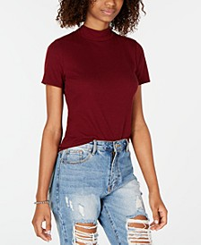 Juniors' Rib-Knit Mock Turtleneck Top