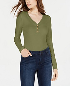 Juniors' Rib-Knit Henley Bodysuit