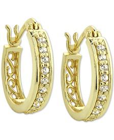Giani Bernini 18k Gold-Plate Cubic Zirconia Hoop Earrings, Created for Macy's