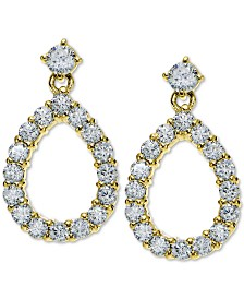 Giani Bernini Cubic Zirconia Teadrop Drop Earrings in 18k Gold-Plated Sterling Silver, Created for Macy's