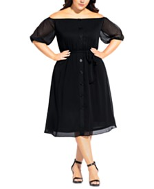 City Chic Trendy Plus Size Button Through Dress
