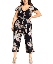 City Chic Trendy Plus Size Cropped Floral-Print Jumpsuit
