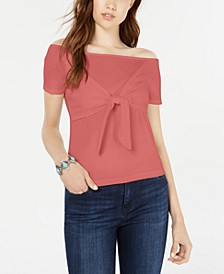 Juniors' Faux-Wrap Knot-Detailed T-Shirt