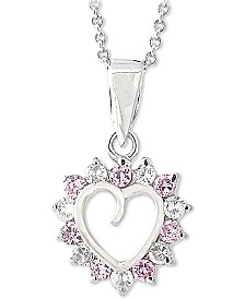 "Giani Bernini Sterling Silver Cubic Zirconia Heart 18"" Pendant Necklace, Created for Macy's"