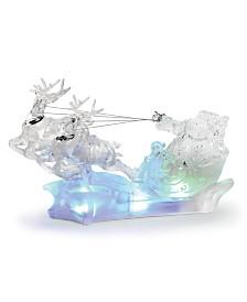 Napco LED Acrylic Santa/Reindeer Sleigh