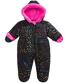 Baby Girls Hooded Star-Print Footed Pram With Faux-Fur Trim