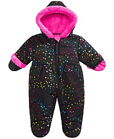 S Rothschild & CO Baby Girls Hooded Star-Print Footed Pram With Faux-Fur Trim