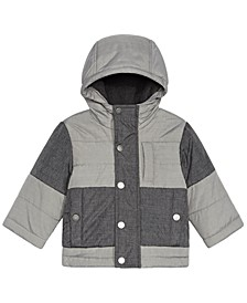 Baby Boys Colorblocked Melange Hooded Jacket