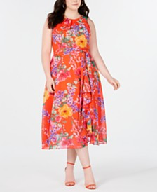 Jessica Howard Trendy Plus Size Floral-Print Midi Dress