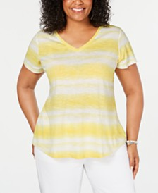 Style & Co Plus Size Tye Dye Striped Top, Created for Macy's