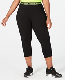 MICHAEL Michael Kors Plus Size Logo-Waist Cropped Leggings
