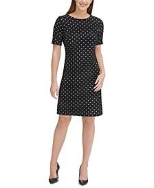 Dot-Print A-Line Dress