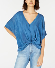 Polly & Esther Juniors' Knot-Front Dolman-Sleeved Blouse