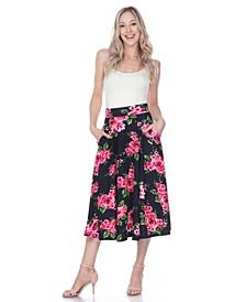 Flared Flower Print Midi Skirt