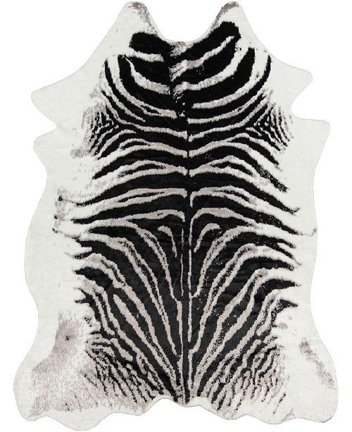 "Erin Gates Acadia Aca-1 Zebra Black 5'3"" x 7'10"" Area Rug"
