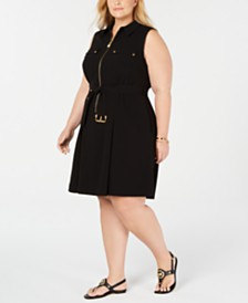 Michael Michael Kors Plus Size Zippered Belted Dress