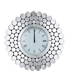 Abbyson Living Leona Round Wall Mirror Clock